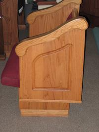 solid oak cantilevered waterfall pew end