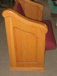 Full length solid oak waterfall pew end